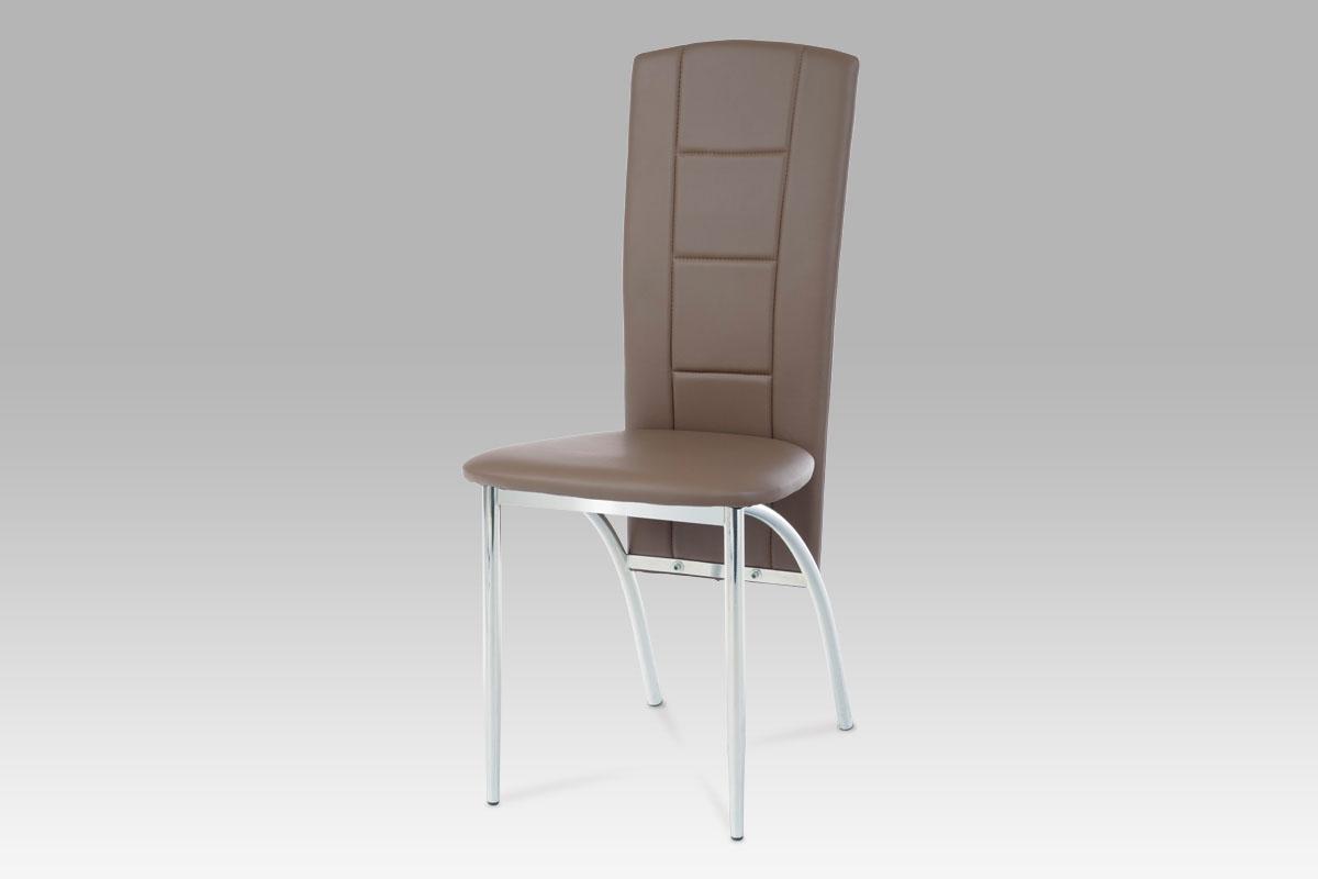 Autronic Jídelní židle, chrom/koženka coffee AC-1019 COF