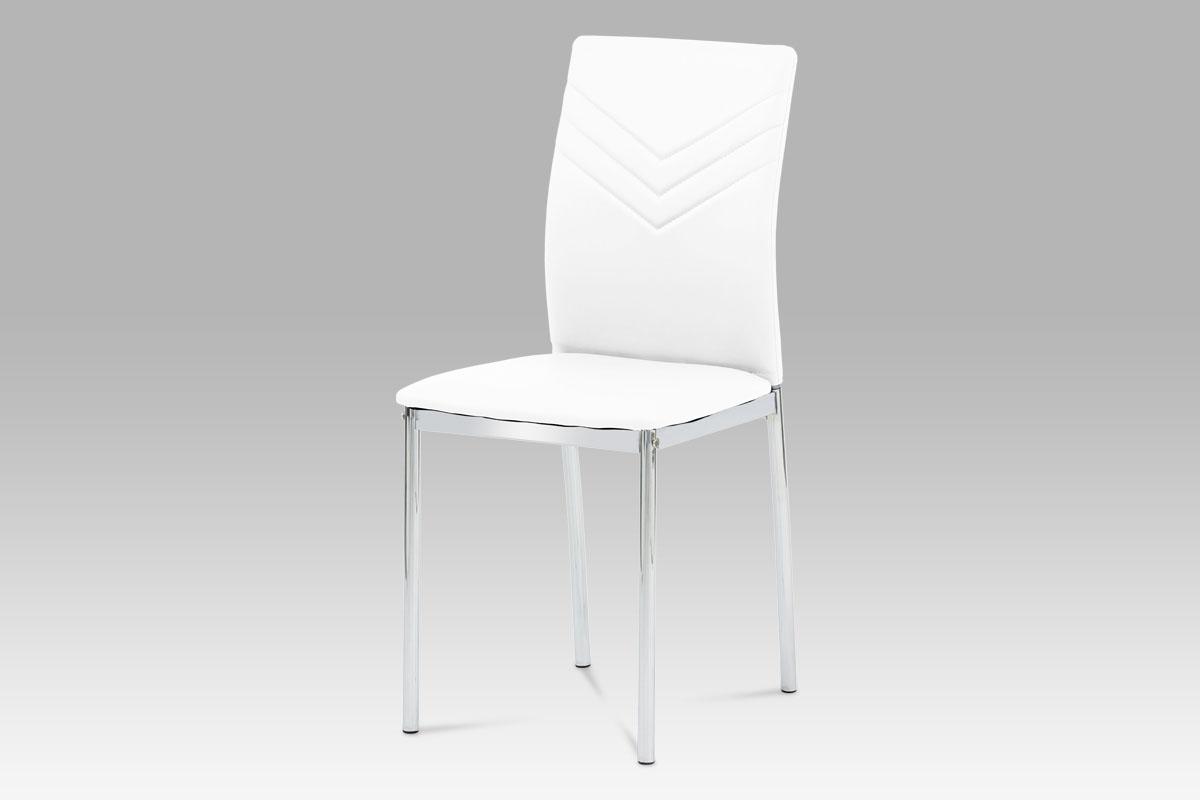 Autronic Jídelní židle AC-1280 WT, chrom / koženka bílá