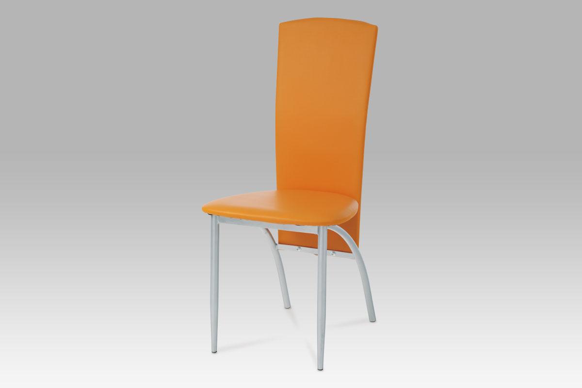 Autronic Jídelní židle AC-1017 ORA alu/koženka oranžová