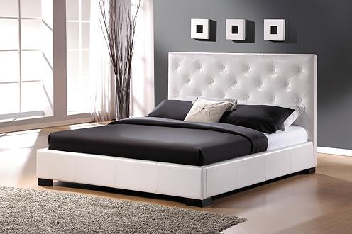 Smartshop TORRONTO, postel 160x200 s roštem, ekokůže bílá