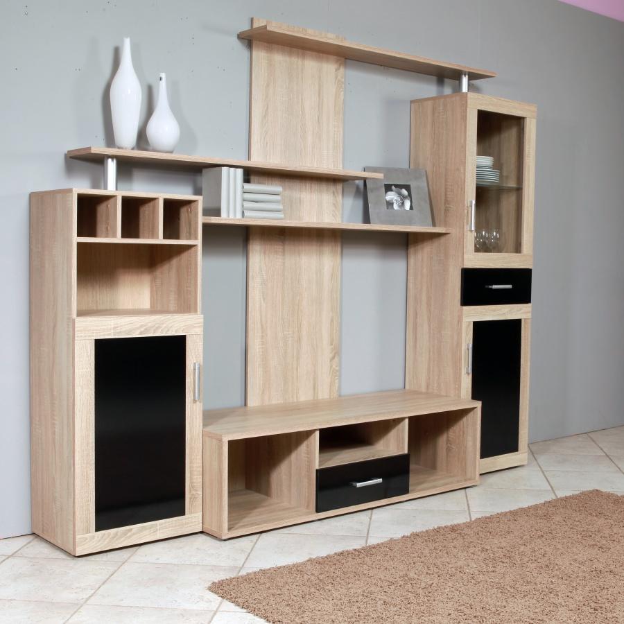 Extom Hicoon, obývací stěna, dub sonoma/černá