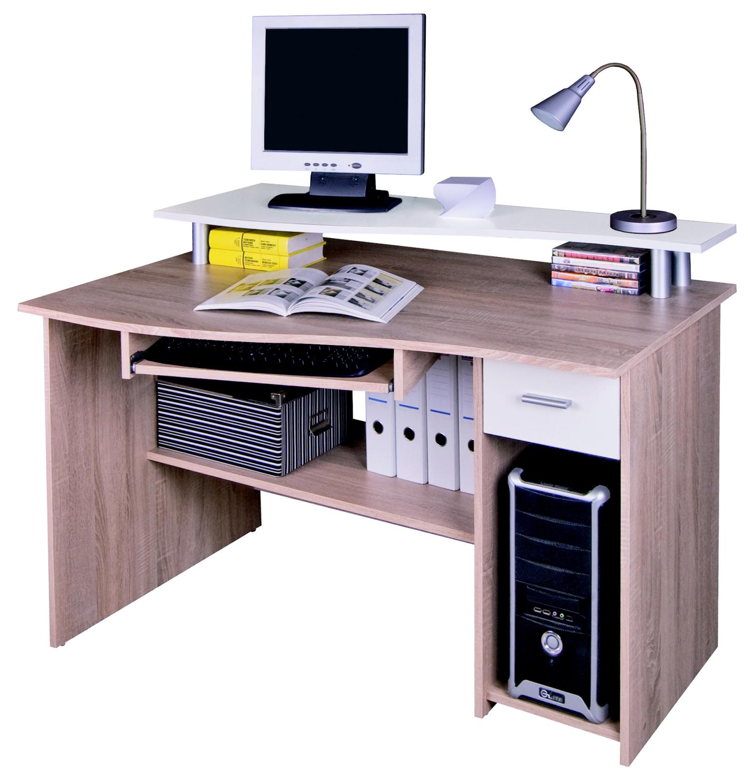 MB Domus Kancelářský PC stůl LEON, dub sonoma/bílá
