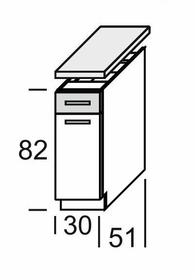 Extom KAMDUO, dolní skříňka DUO DS3/1+PD, tráva/ořech