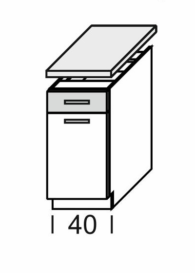Extom KAMDUO, dolní skříňka DUO DS4/1+PD, zebrano/hruška