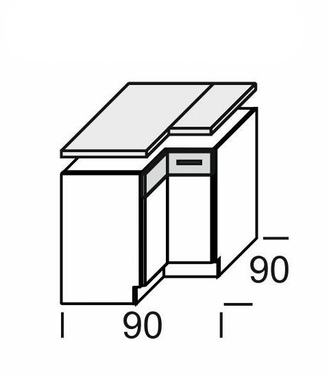 Extom KAMDUO, dol. skříňka roh. DUO DRP9+PD, tráva/ořech