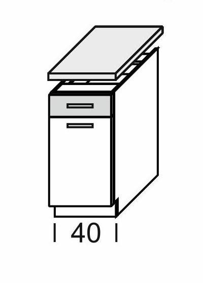 Extom KAMDUO, dolní skříňka DUO DS4/1+PD, tráva/ořech