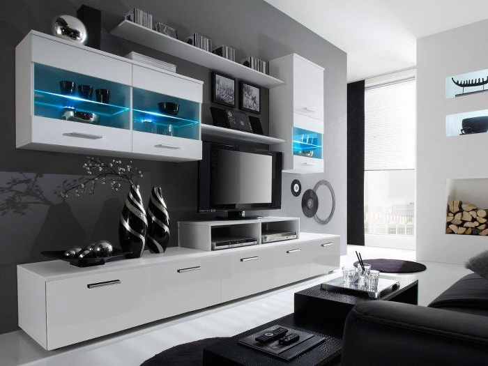 Halmar LOGO II, obývací stěna, bílá/bílý lesk