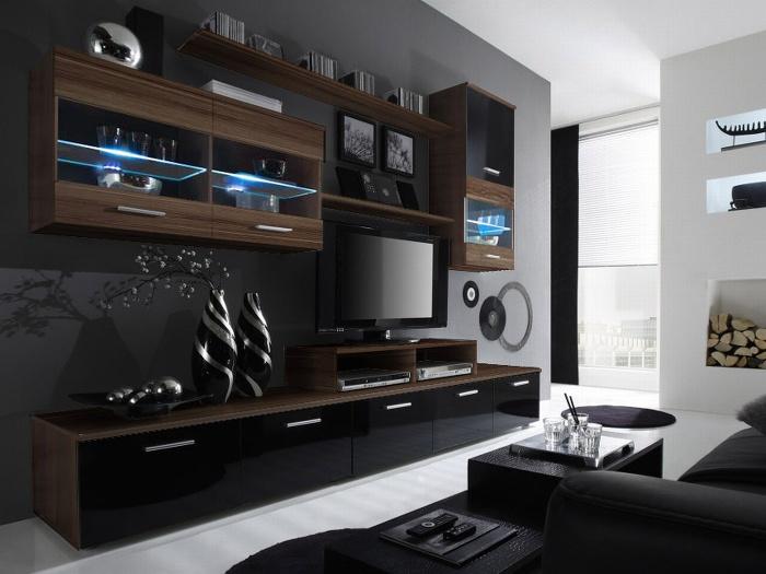 Halmar LOGO II, obývací stěna, švestka/černý lesk