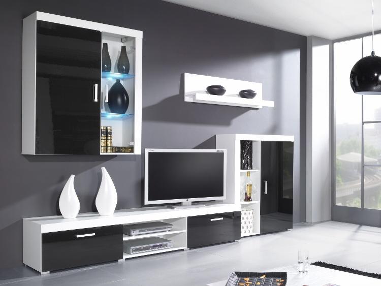 CAMA SAMBA A, obývací stěna, bílá/černý lesk