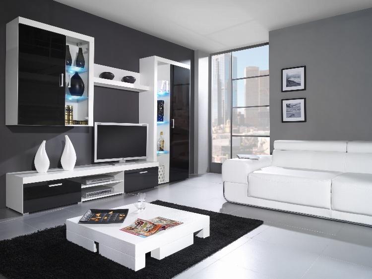 CAMA *SAMBA B, obývací stěna, bílá/černý lesk