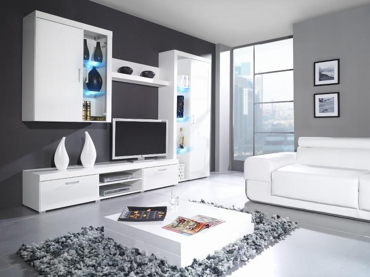 CAMA SAMBA B, obývací stěna, bílá/bílý lesk