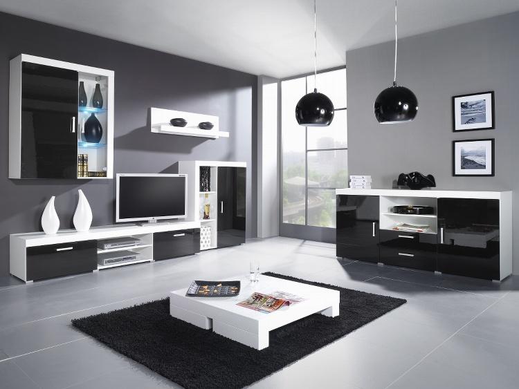 CAMA SAMBA C, obývací stěna, bílá/černý lesk