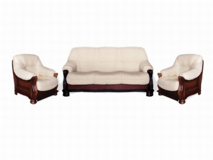 Aspol Kožená sedací souprava KONSUL II 3N+1+1, bílá