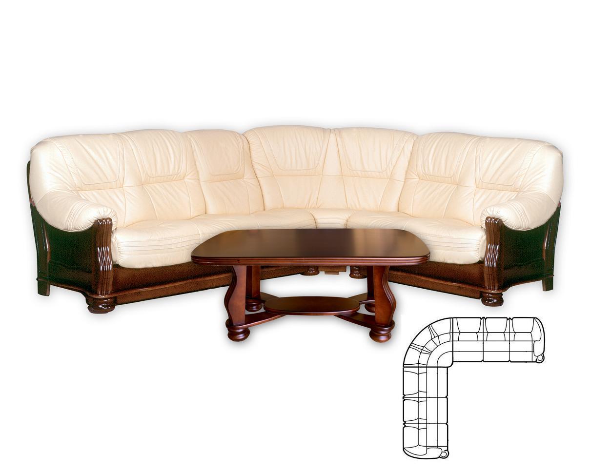 Aspol Kožená rohová sedačka KONSUL II 3N+R+3, bílá