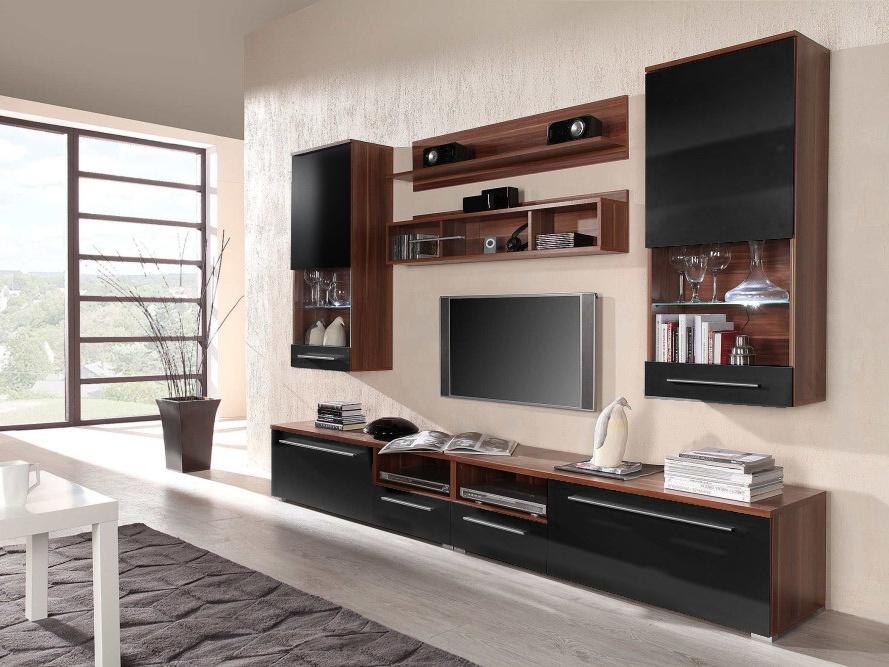 CAMA LUNA, obývací stěna, švestka/černý lesk