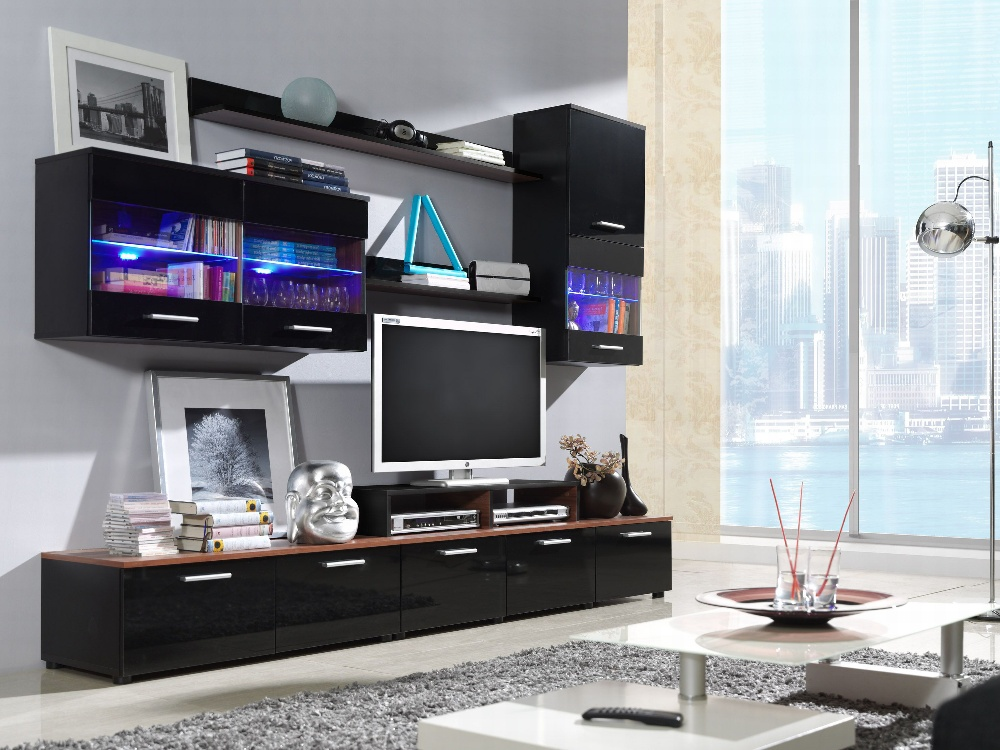Halmar LOGO II, obývací stěna, černá a švestka/černý lesk