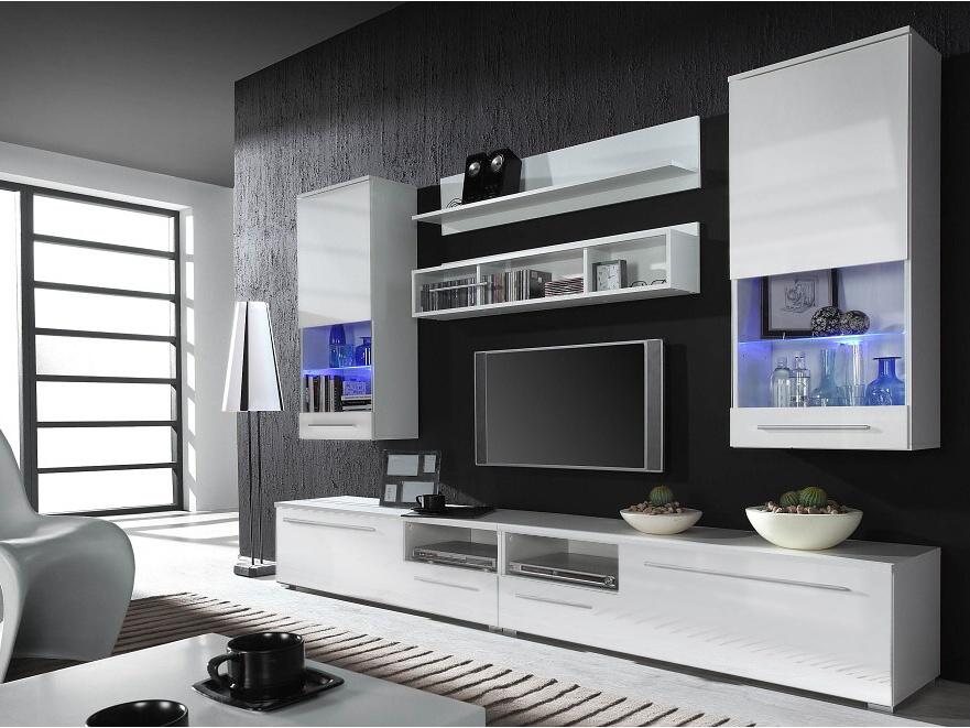 CAMA LUNA WHITE, obývací stěna, bílá/bílý lesk
