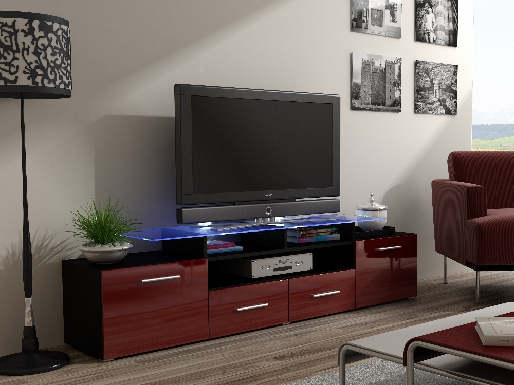 CAMA Televizní stolek RTV EVORA, černý/bordo lesk