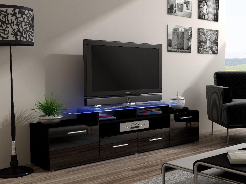 CAMA Televizní stolek RTV EVORA, černý/černý lesk