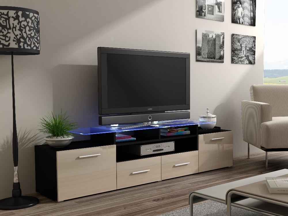 CAMA Televizní stolek RTV EVORA, černý/krémový lesk