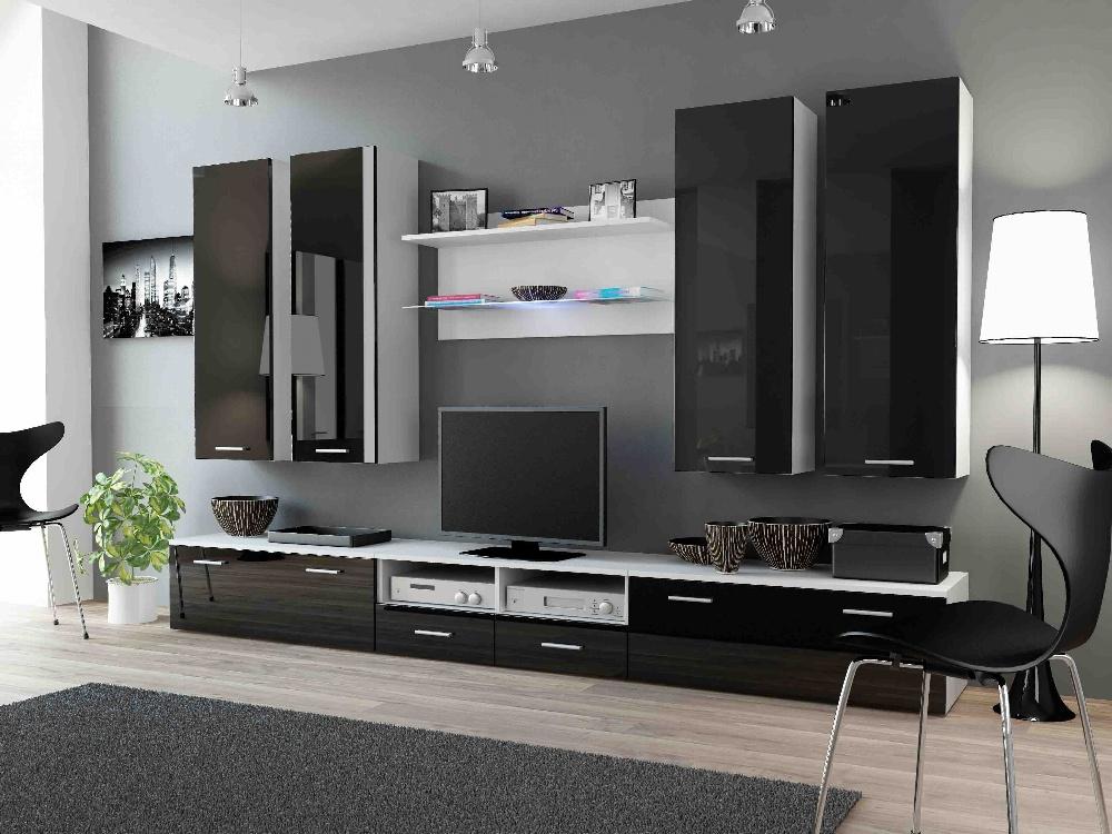 CAMA DREAM III, obývací stěna, bílá/černý lesk
