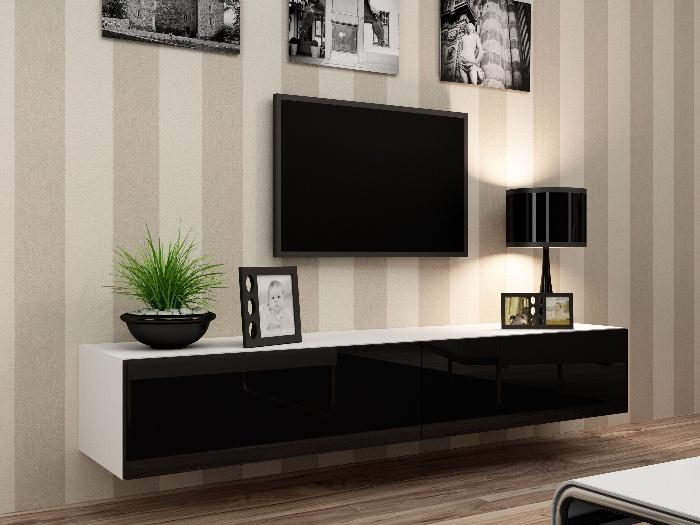 CAMA Televizní stolek VIGO, bílá/černý lesk