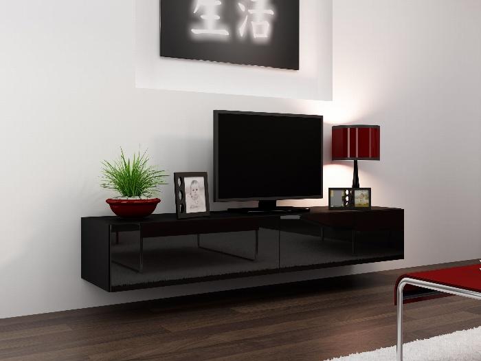 CAMA Televizní stolek VIGO, černá/černý lesk