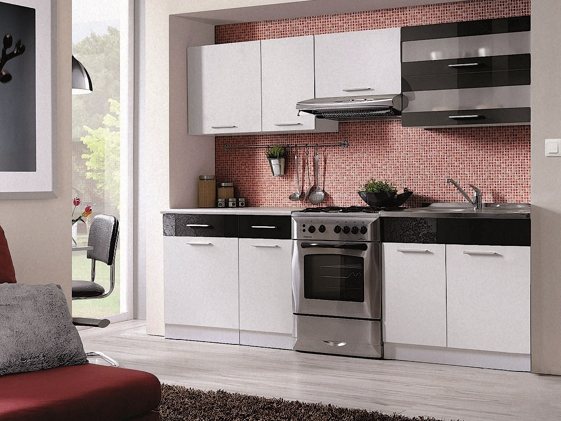 Smartshop Kuchyně MARTINA COM 180/240 cm, bílá/černý lesk