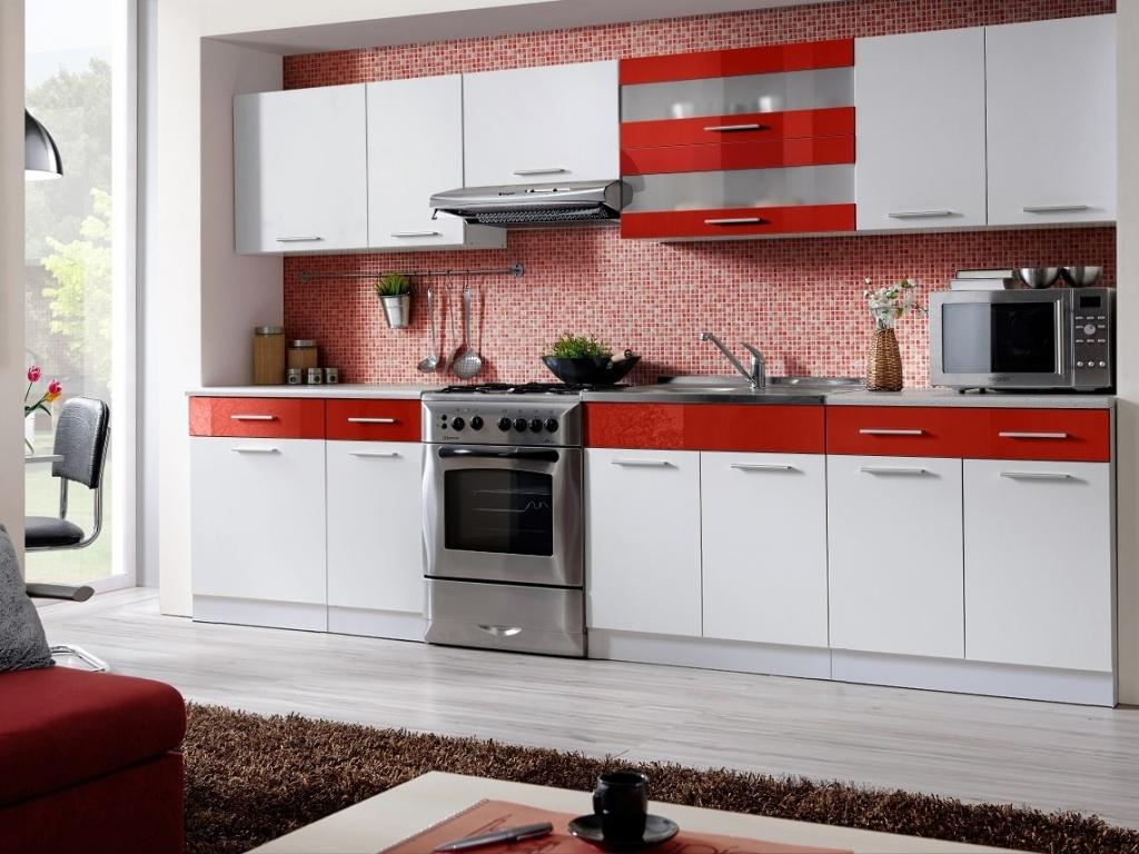 Smartshop Kuchyně MARTINA COM 260/320 cm, bílá/červený lesk