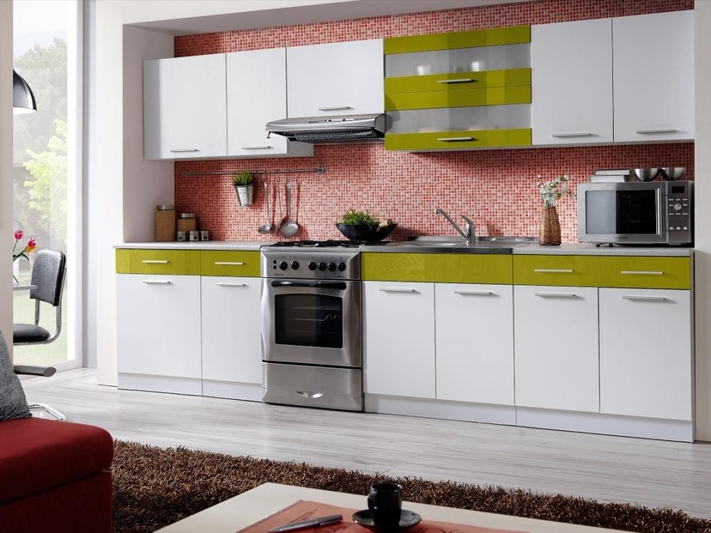 Smartshop Kuchyně MARTINA COM 260/320 cm, bílá/zelený lesk
