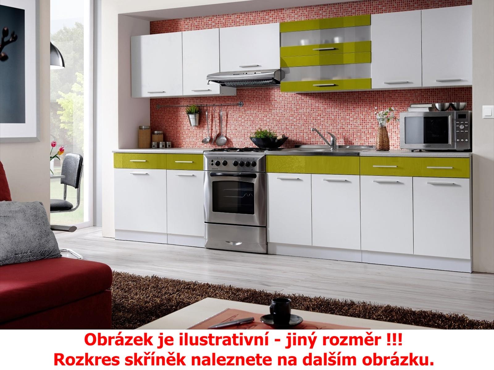 Smartshop Kuchyně MARTINA COM 180/240 cm, bílá/zelený lesk