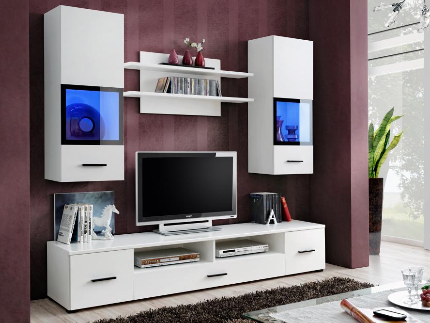 Smartshop WANS, obývací stěna, bílá/bílá