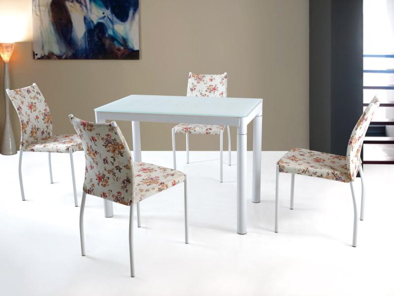 Halmar Jídelní stůl ARGUS, bílý, kov/sklo