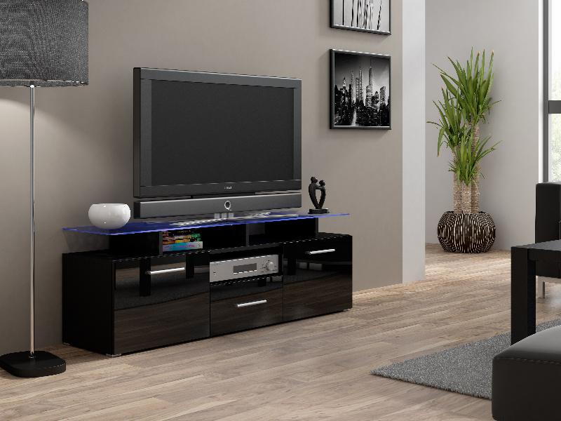 CAMA Televizní stolek RTV EVORA MINI, černá/černý lesk