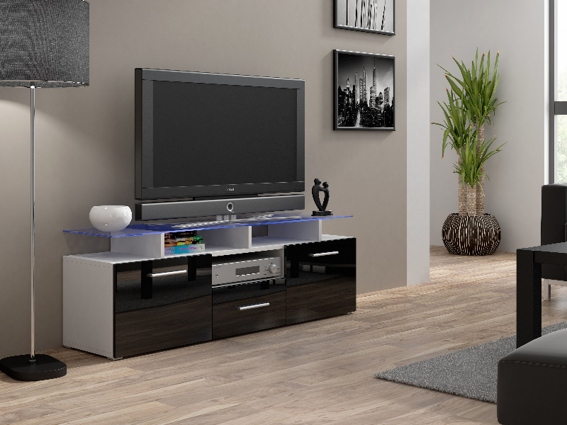 CAMA Televizní stolek RTV EVORA MINI, bílá/černý lesk