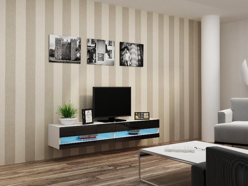 CAMA Televizní stolek VIGO NEW, bílá/černý lesk