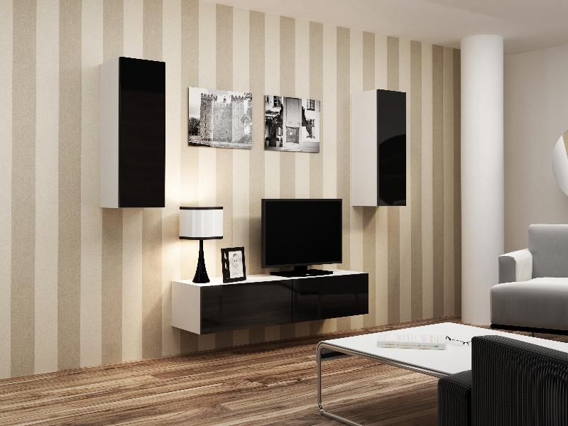 CAMA Obývací stěna VIGO 7, bílá/černý lesk