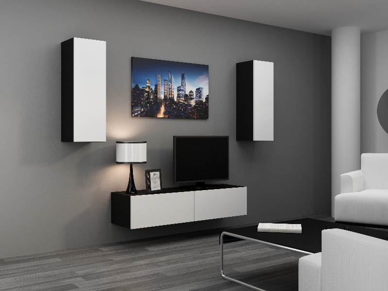 CAMA Obývací stěna VIGO 7, černá/bílý lesk