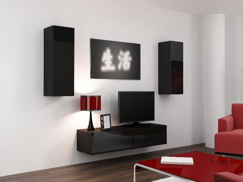 CAMA Obývací stěna VIGO 7, černá/černý lesk