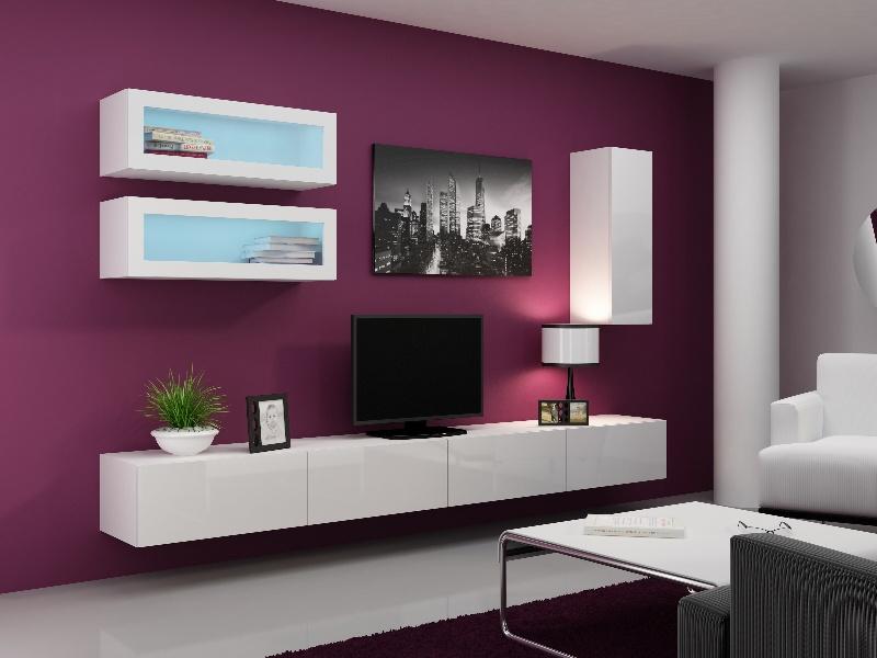 CAMA Obývací stěna VIGO 11, bílá/bílý lesk