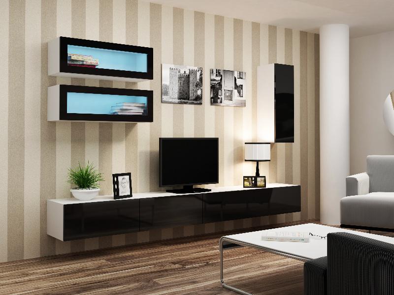 CAMA Obývací stěna VIGO 11, bílá/černý lesk