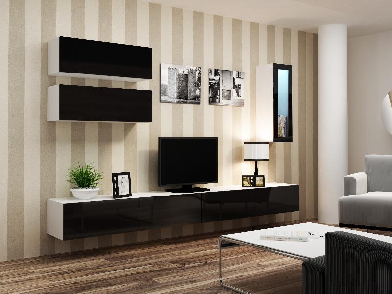 CAMA *Obývací stěna VIGO 12, bílá/černý lesk