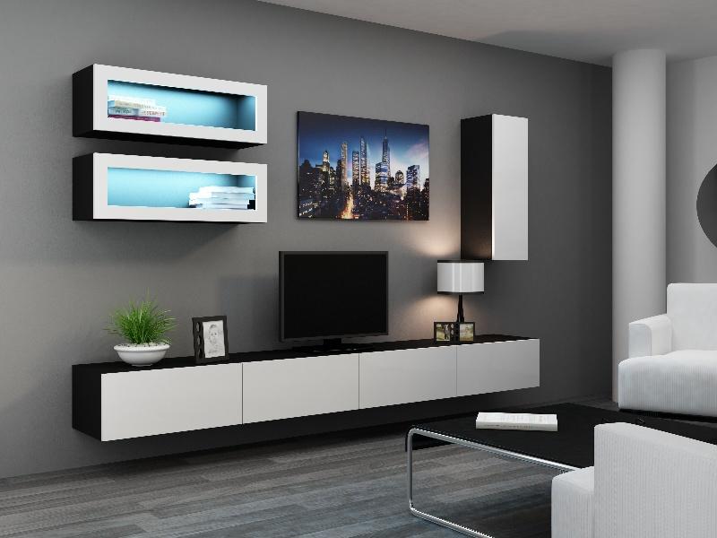 CAMA Obývací stěna VIGO 11, černá/bílý lesk