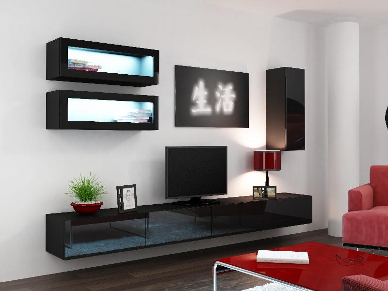 CAMA *Obývací stěna VIGO 11, černá/černý lesk