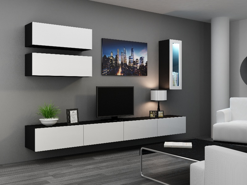 CAMA *Obývací stěna VIGO 12, černá/bílý lesk