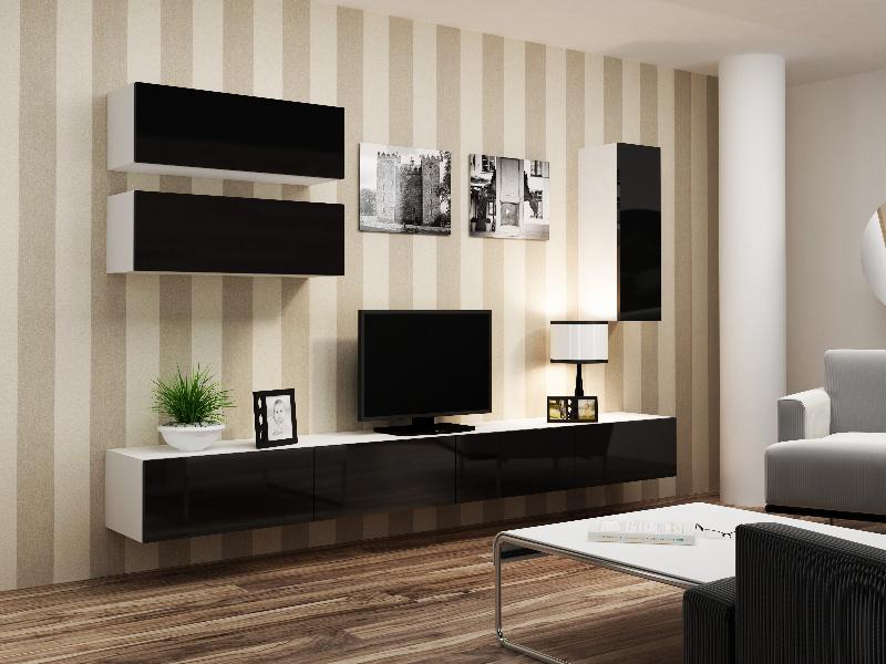 CAMA Obývací stěna VIGO 13, bílá/černý lesk