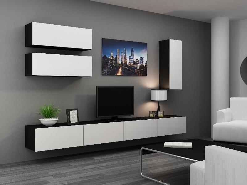CAMA Obývací stěna VIGO 13, černá/bílý lesk