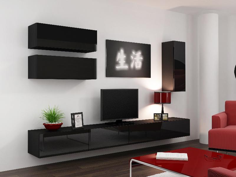 CAMA Obývací stěna VIGO 13, černá/černý lesk