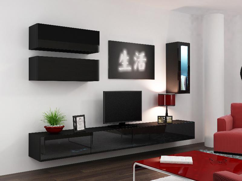 CAMA *Obývací stěna VIGO 12, černá/černý lesk