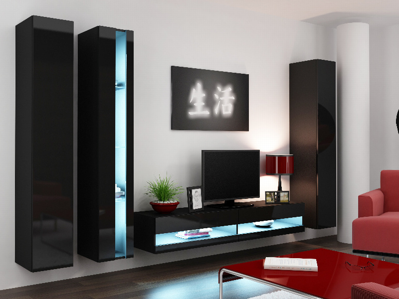 CAMA Obývací stěna VIGO NEW 7, černá/černý lesk